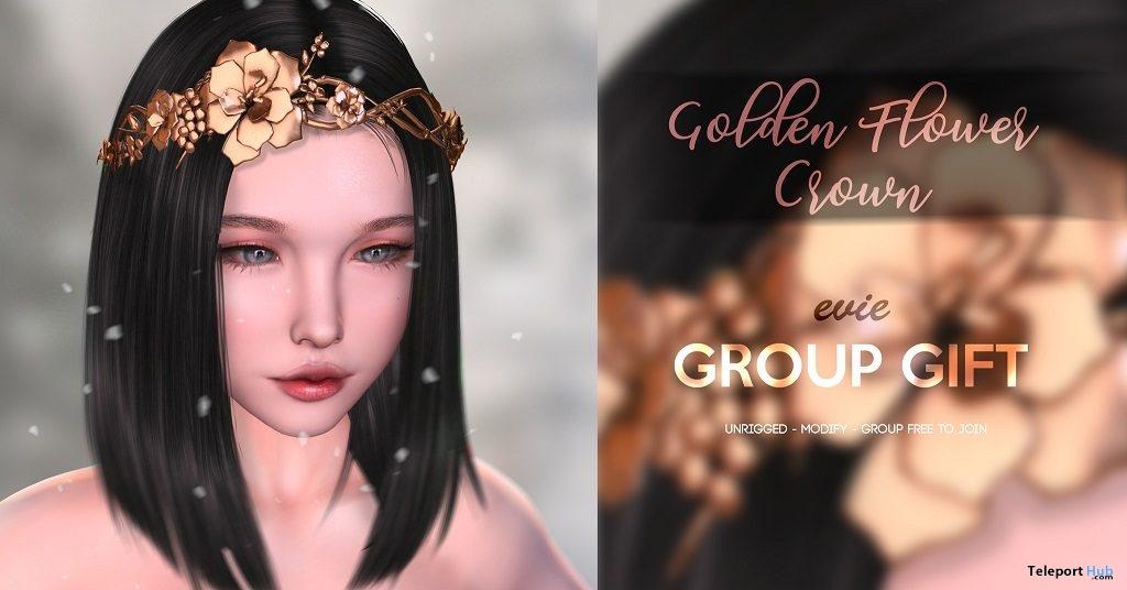 Golden Flower Crown December 2018 Group Gift by EVIE - Teleport Hub - teleporthub.com