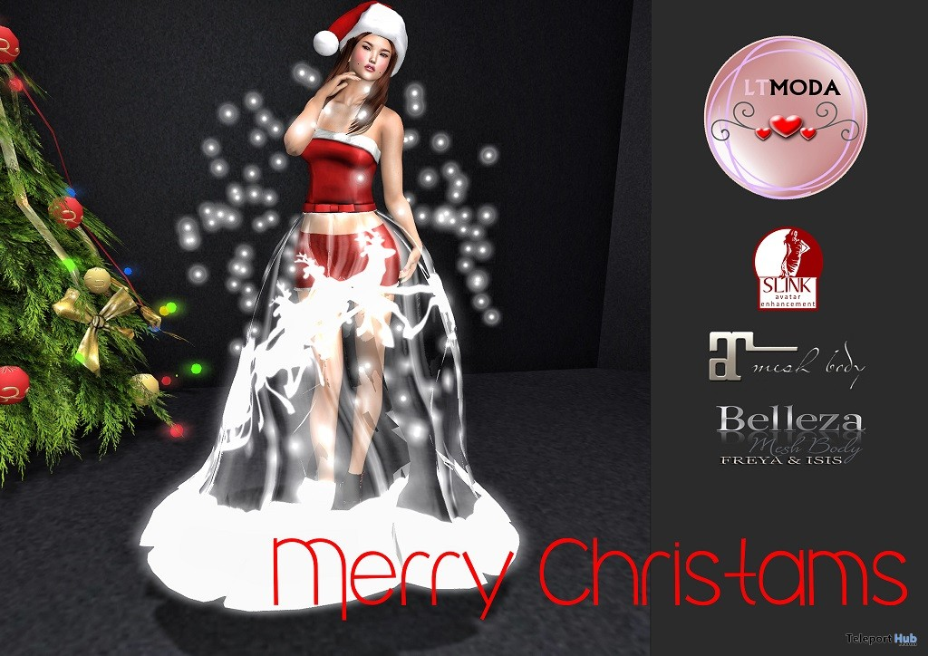 Merry Christmas Dress December 2018 Group Gift by LTMODA - Teleport Hub - teleporthub.com