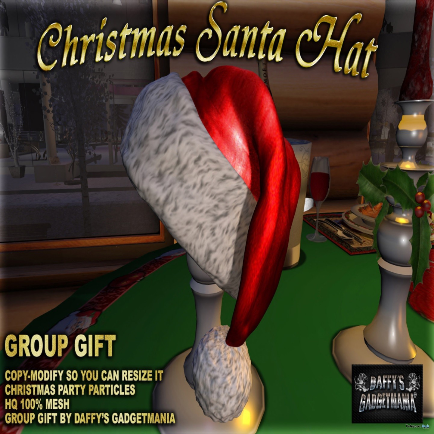 Santa Christmas Hat December 2018 Group Gift by Daffy's Gadgetmania - Teleport Hub - teleporthub.com