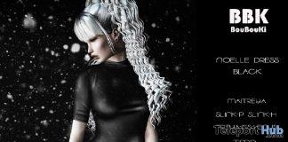 Noelle Dress Black December 2018 Group Gift by BouBouKi - Teleport Hub - teleporthub.com