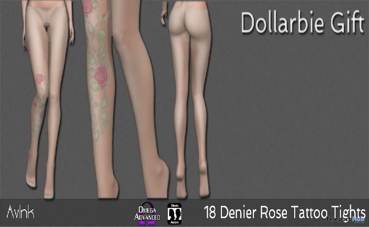 18 Denier Rose Tattoo Tights 1L Promo Gift by AvInk- Teleport Hub - teleporthub.com