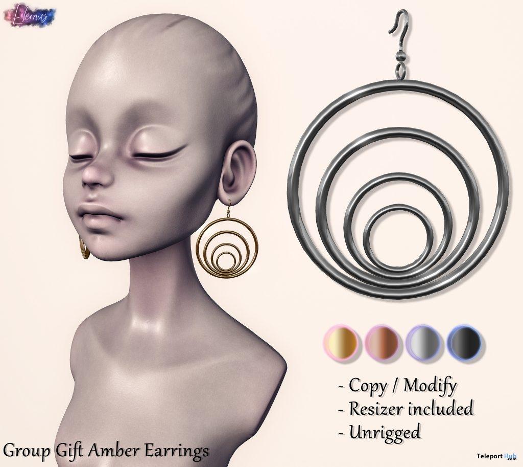 Amber Earrings January 2019 Group Gift by Eternus- Teleport Hub - teleporthub.com