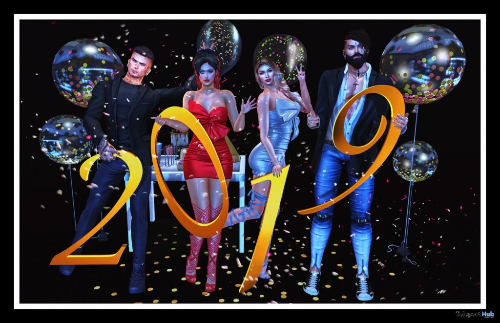 Happy New Year 2019 Group Bento Pose January 2019 Group Gift by Ana Boutique - Teleport Hub - teleporthub.com