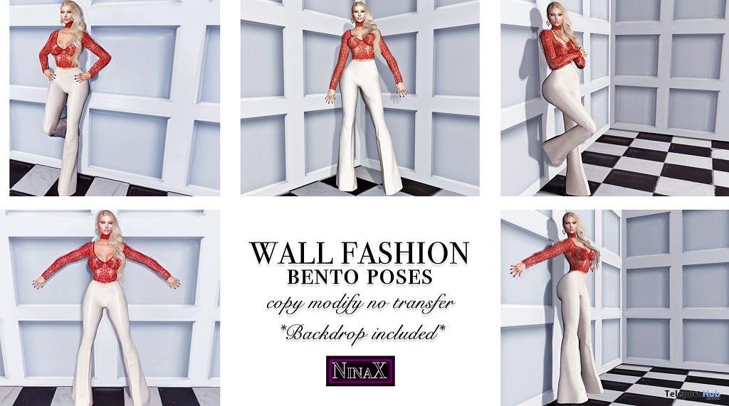 Wall Fashion Bento Poses With Prop January 2019 Group Gift by NinaX- Teleport Hub - teleporthub.com
