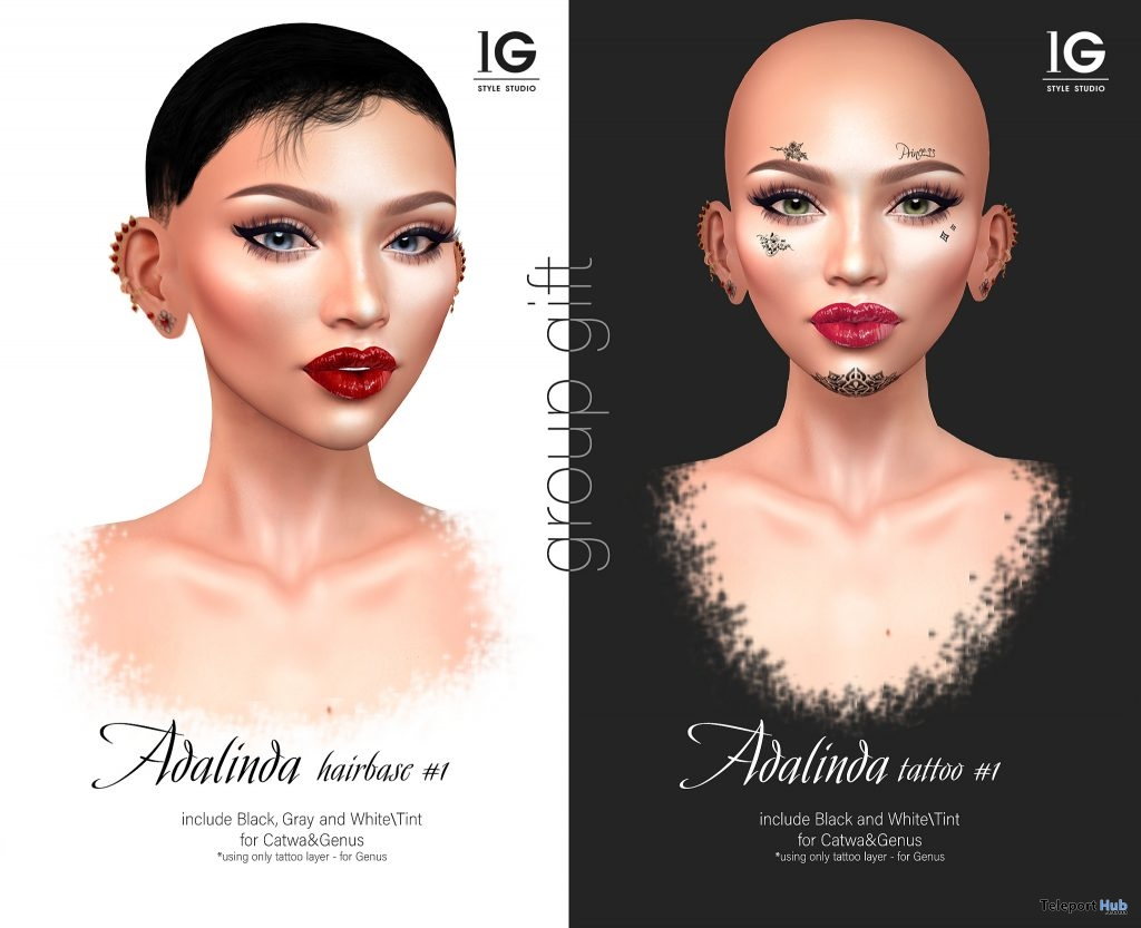 Adalina Tattoo & Hairbase #1 February 2019 Group Gift by Le gene - Teleport Hub - teleporthub.com