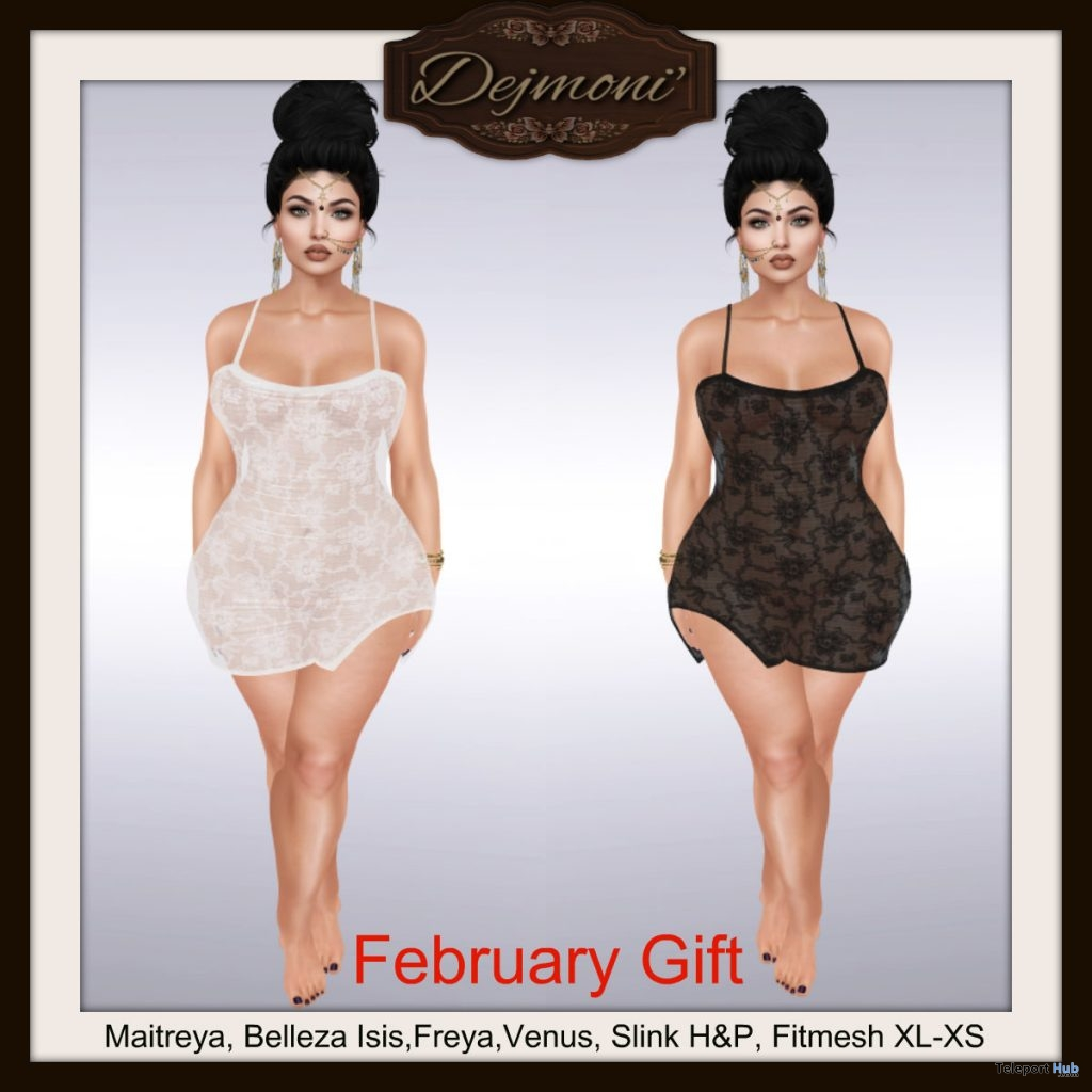 Lace Dress White & Black February 2019 Gift by Dejmoni'- Teleport Hub - teleporthub.com