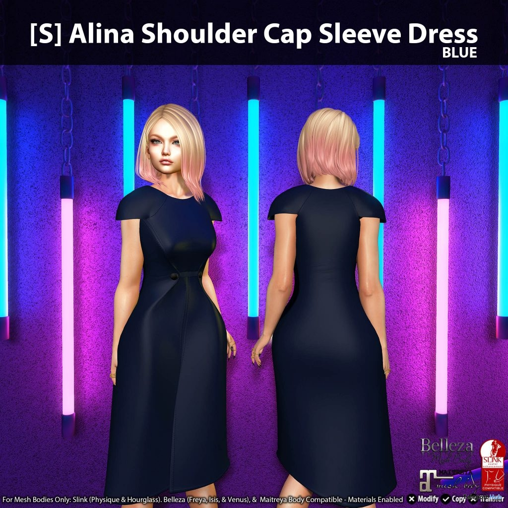 New Release: [S] Alina Shoulder Cap Sleeve Dress by [satus Inc]- Teleport Hub - teleporthub.com