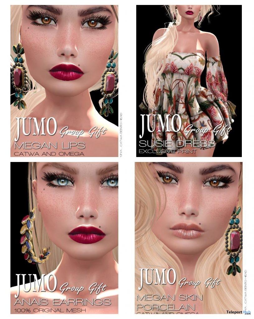 Anais Earrings, Susie Dress, Megan Skin Porcelain & Lips January 2019 Group Gift by JUMO - Teleport Hub - teleporthub.com