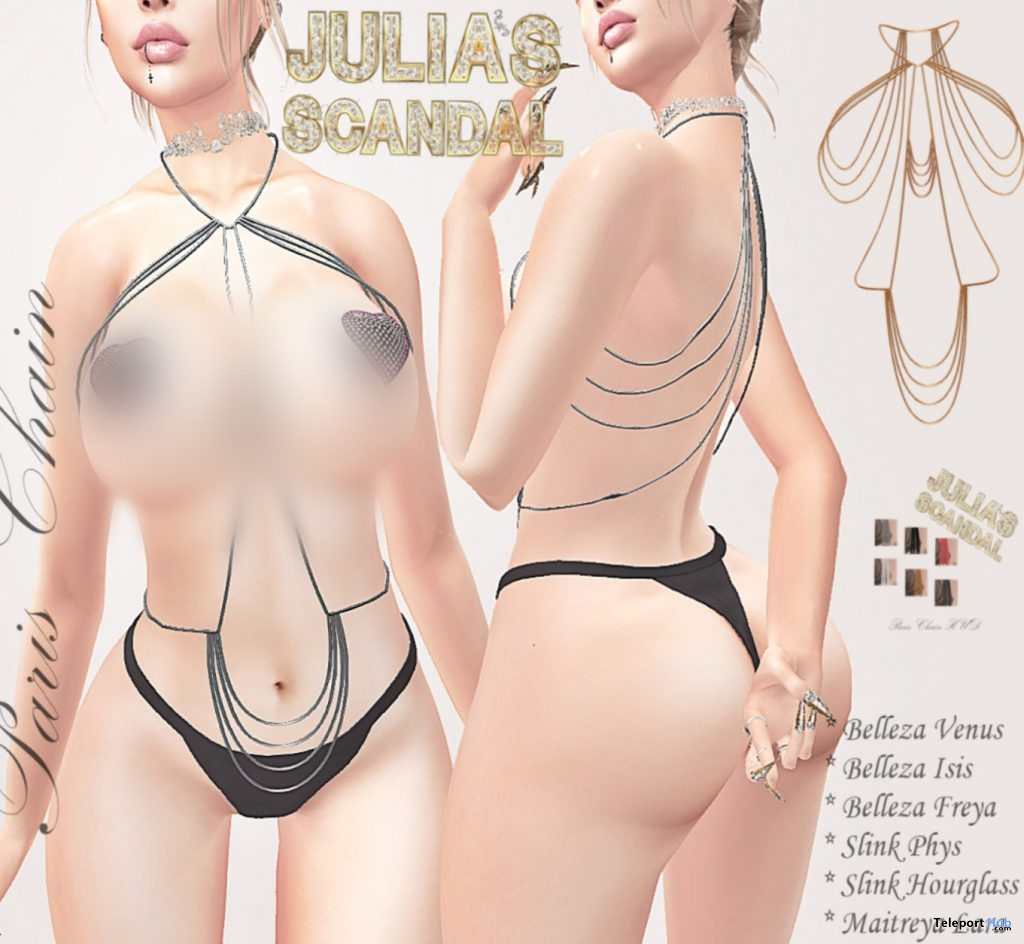 Paris Chain Outfit January 2019 Group Gift by Julia's Scandal - Teleport Hub - teleporthub.com