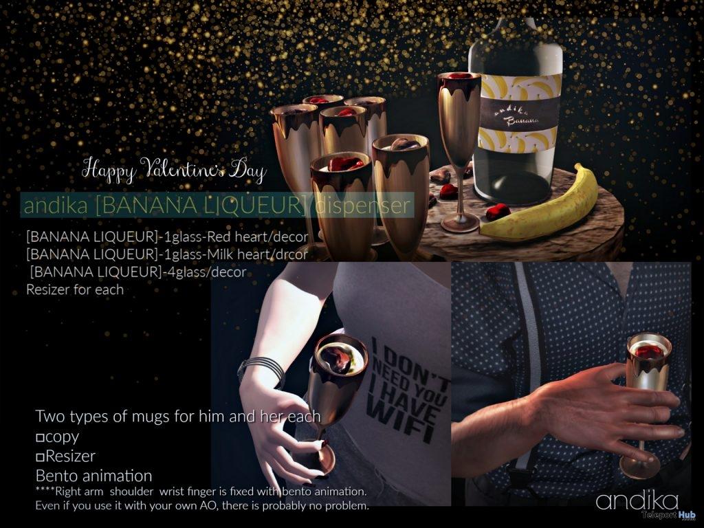Banana Liqueur Glasses & Dispenser February 2019 Group Gift by Andika- Teleport Hub - teleporthub.com
