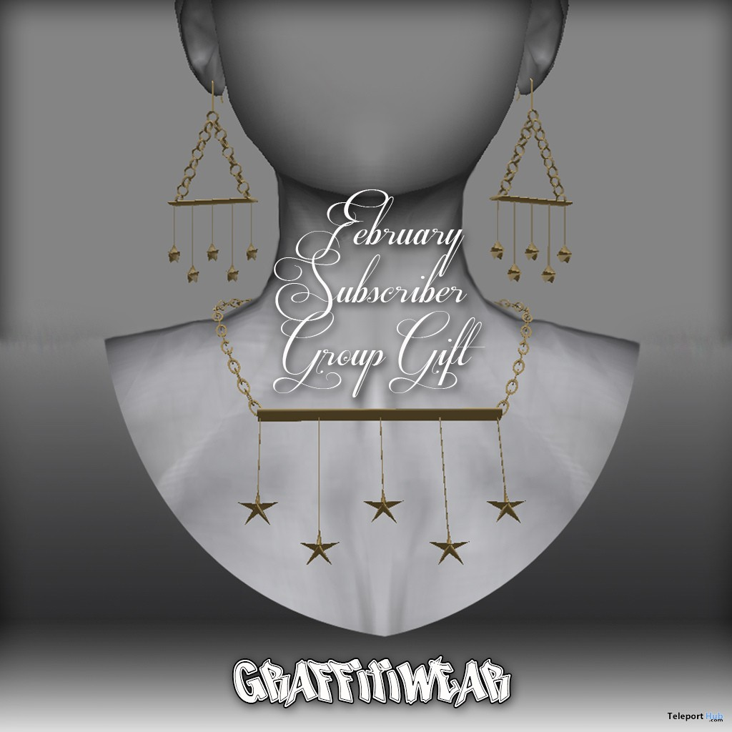 Stars Earrings & Necklace February 2019 Subscriber Gift by Graffitiwear - Teleport Hub - teleporthub.com