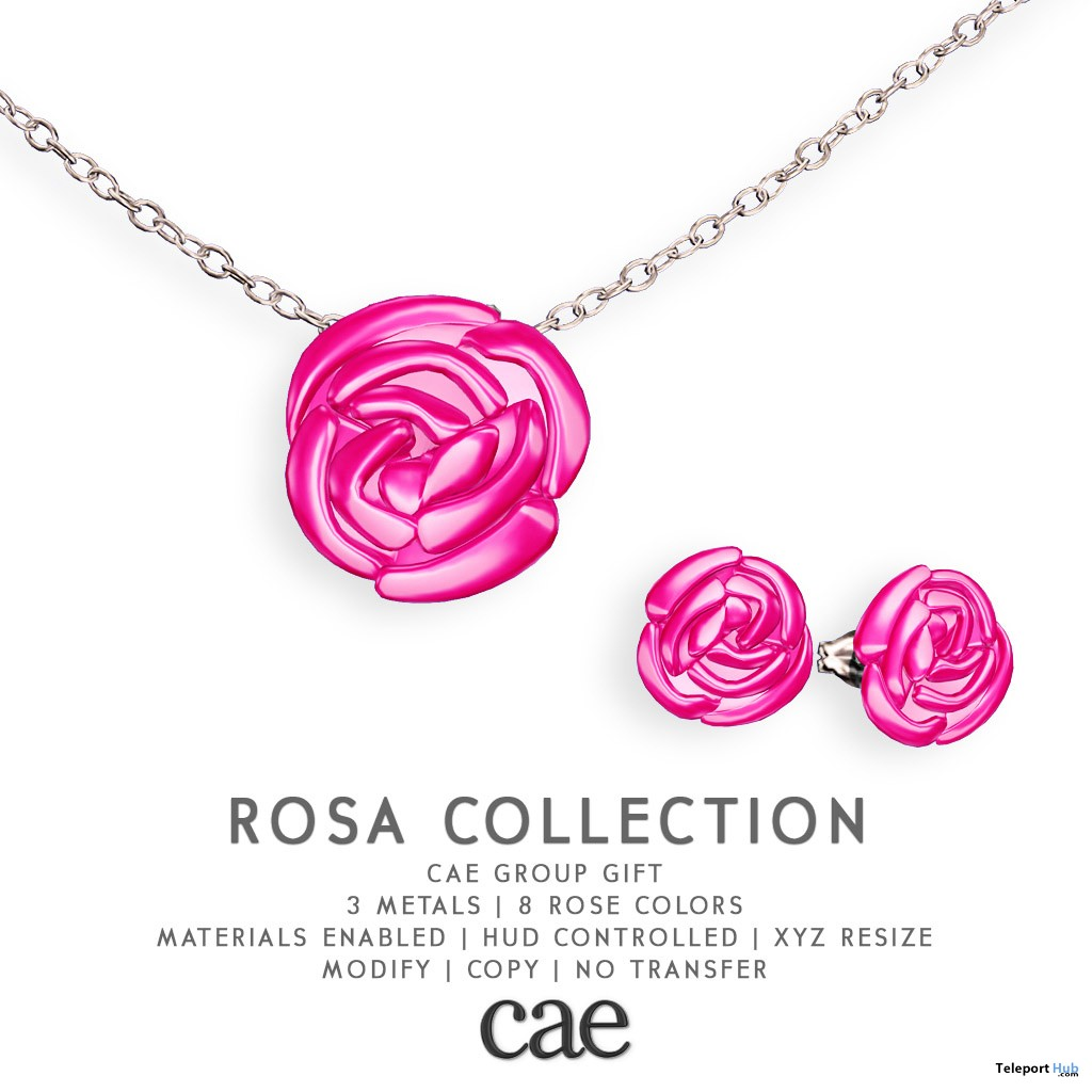 Rosa Collection Necklace & Earrings February 2019 Group Gift by Cae - Teleport Hub - teleporthub.com