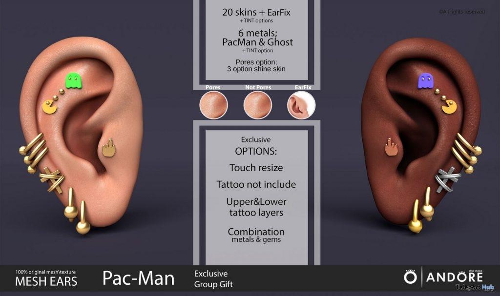 Pac-Man Mesh Ears February 2019 Group Gift by ANDORE- Teleport Hub - teleporthub.com