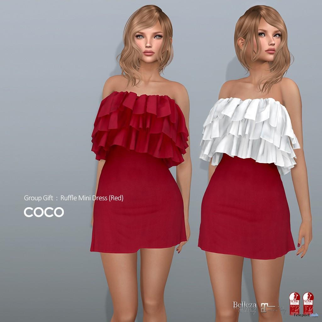 Ruffle Mini Dress Red February 2019 Group Gift by COCO Designs- Teleport Hub - teleporthub.com