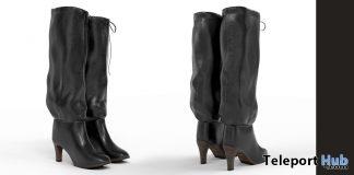 New Release: Jade Leather Mid-Heel Knee Boots Fatpack by Bueri @ Shiny Shabby February 2019- Teleport Hub - teleporthub.com