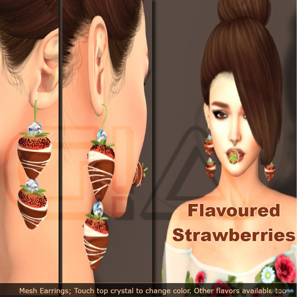 Strawberries Earrings February 2019 Group Gift by Third Moon Creations- Teleport Hub - teleporthub.com