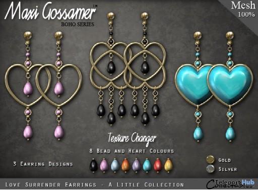 Love Surrender Earrings February 2019 Group Gift by Maxi Gossamer- Teleport Hub - teleporthub.com