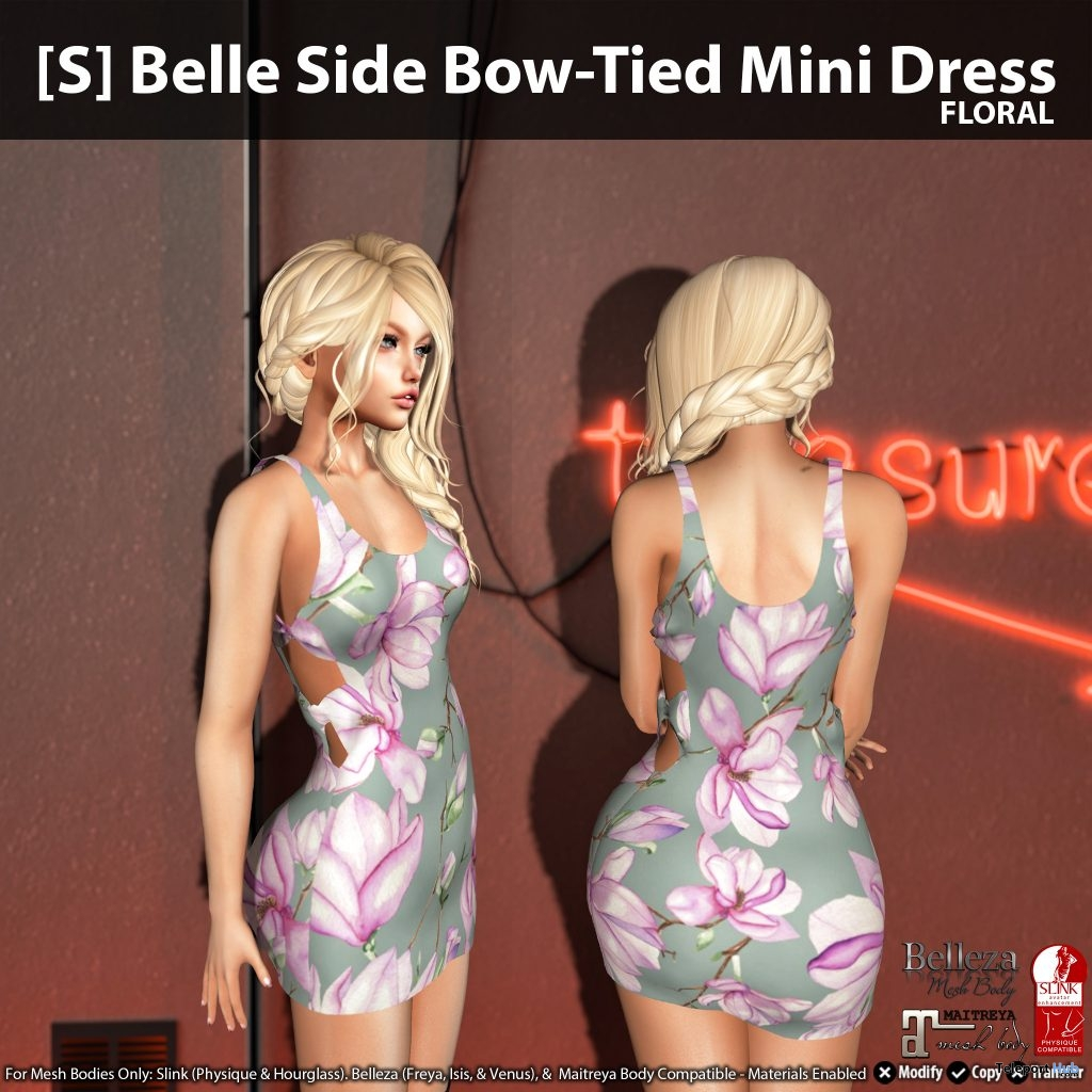 New Release: [S] Belle Side Bow-Tied Mini Dress by [satus Inc] - Teleport Hub - teleporthub.com