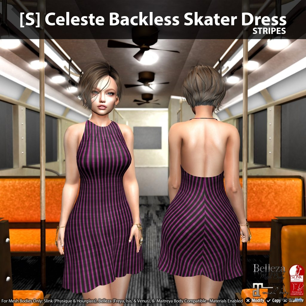 New Release: [S] Celeste Backless Skater Dress by [satus Inc] - Teleport Hub - teleporthub.com
