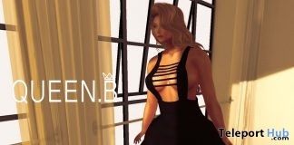 Zoe Dress Black February 2019 Group Gift by Queen.B- Teleport Hub - teleporthub.com