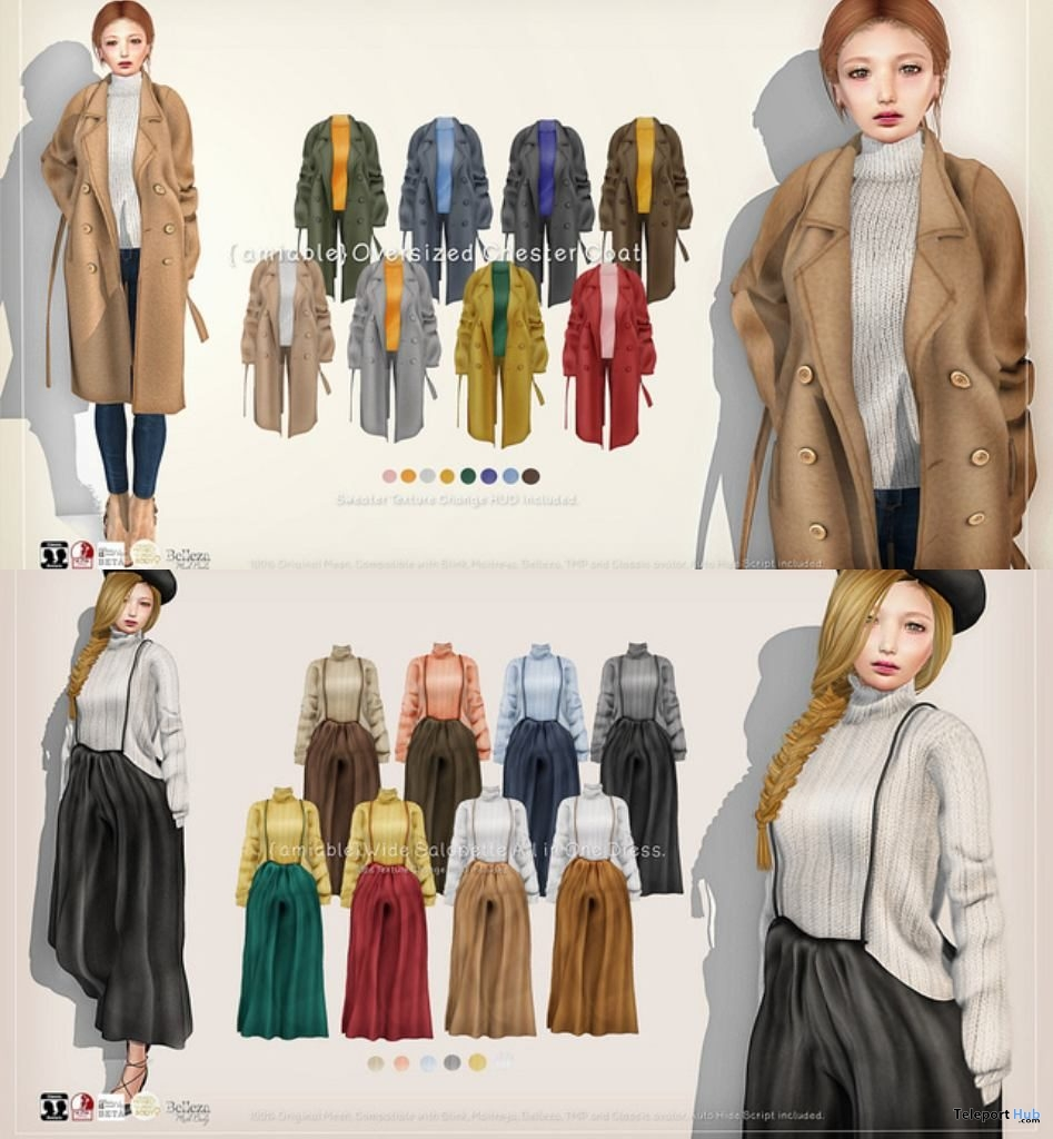 Oversized Chester Coat & Wide Salopette All in One Dress Promo by {amiable} @ Collabor88 February 2019- Teleport Hub - teleporthub.com