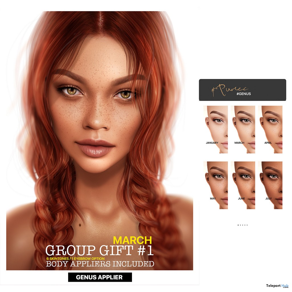 March #1 Skin Fatpack For Genus Head March 2019 Group Gift by PUMEC- Teleport Hub - teleporthub.com