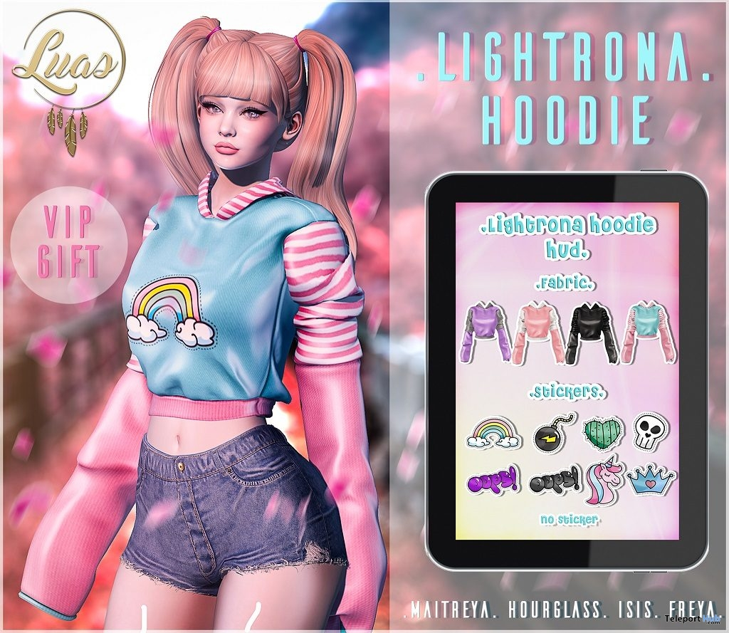 Lightrona Hoodie March 2019 Group Gift by Luas - Teleport Hub - teleporthub.com