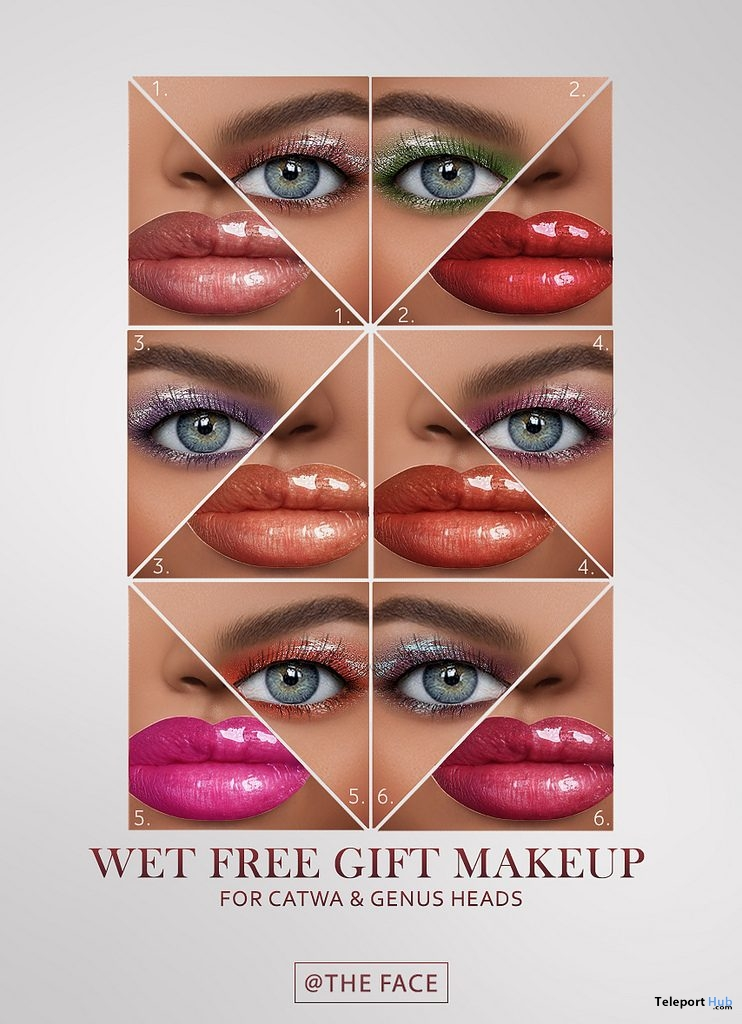 Wet Make-up Pack For Catwa & Genus Heads March 2019 Group Gift by The Face- Teleport Hub - teleporthub.com