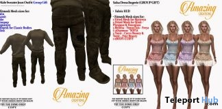 Salsa Dress Lingerie & Male Sweater Jean Outfit March 2019 Group Gift by AmAzIng CrEaTiOnS- Teleport Hub - teleporthub.com