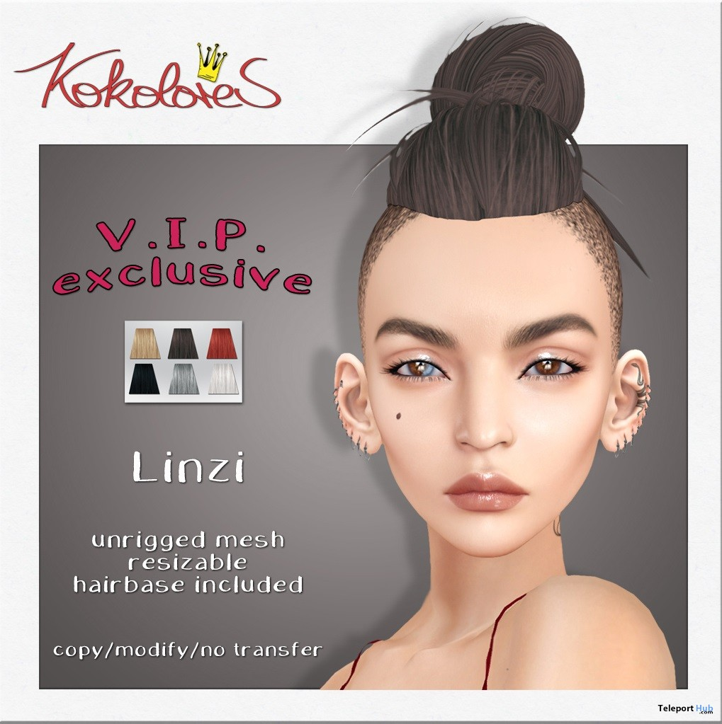 Linzi Hair Exclusive Pack March 2019 Group Gift by KoKoLoReS- Teleport Hub - teleporthub.com