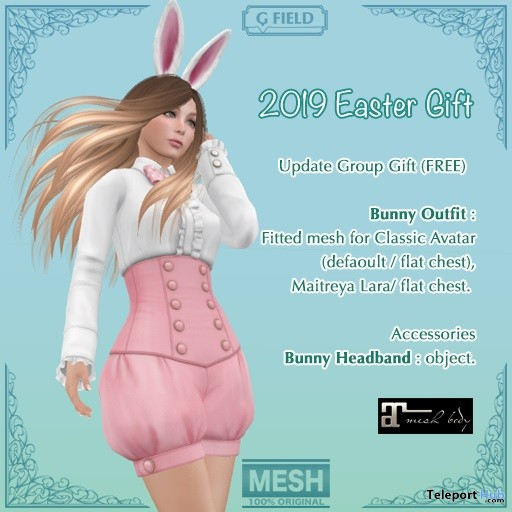 Bunny Outfit Easter 2019 Group Gift by G Field - Teleport Hub - teleporthub.com
