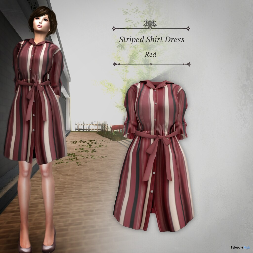 Striped Shirt Dress Red April 2019 Group Gift by S@BBiA - Teleport Hub - teleporthub.com
