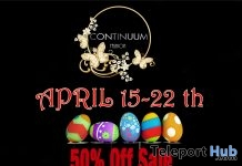 Continuum Fashion Easter 2019 50% Off Sale Event - Teleport Hub - teleporthub.com