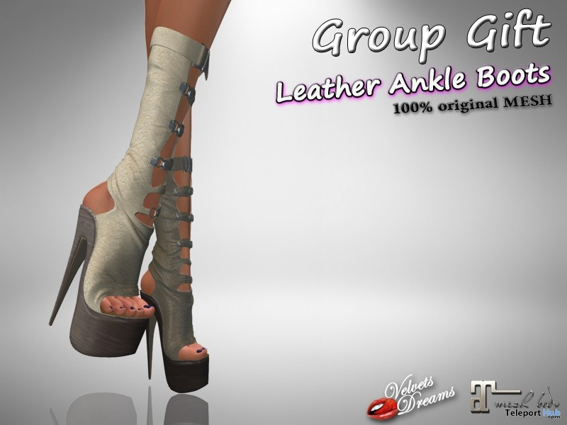 Leather Ankle Boots Beige April 2019 Group Gift by Velvets Dreams- Teleport Hub - teleporthub.com
