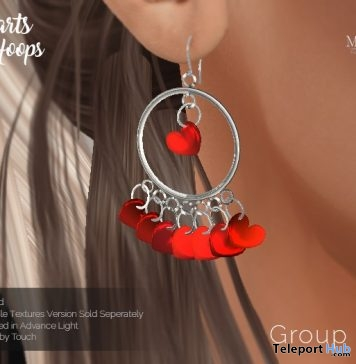Hearts Hoops Earrings April 2019 Group Gift by MajestiX - Teleport Hub - teleporthub.com