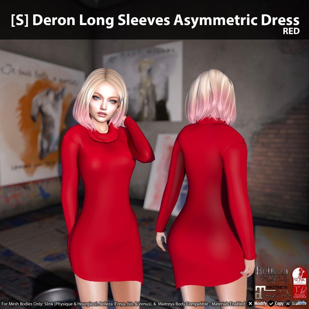 New Release: [S] Deron Long Sleeves Asymmetric Dress by [satus Inc]- Teleport Hub - teleporthub.com