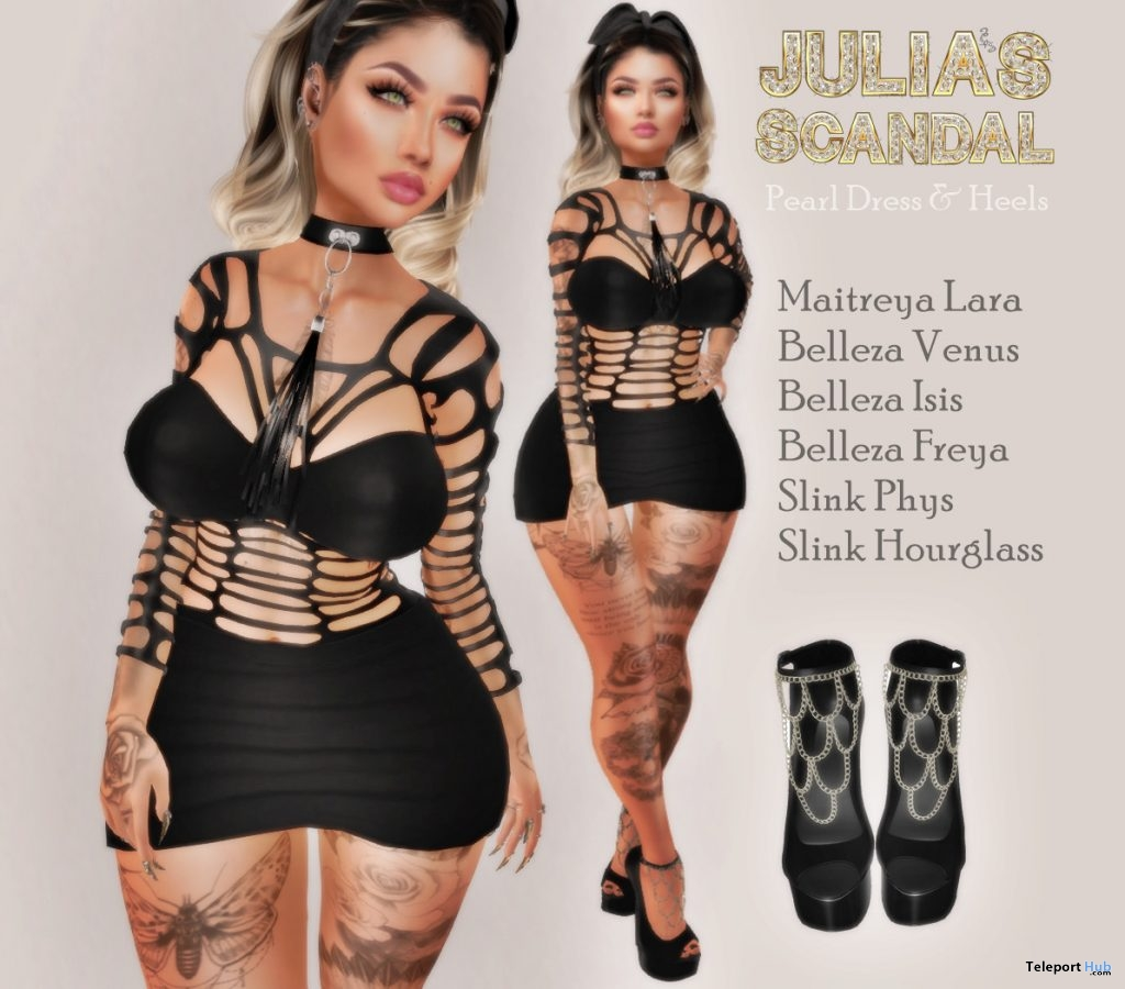 Pearl Dress & Heels April 2019 Group Gift by Julia's Scandal- Teleport Hub - teleporthub.com