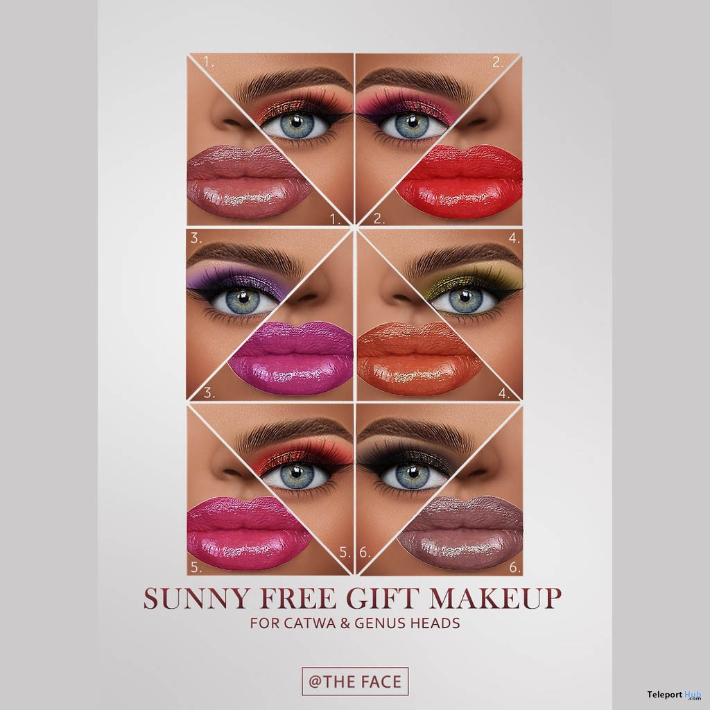 Sunny Makeup Pack For Catwa & Genus Heads April 2019 Group Gift by The Face - Teleport Hub - teleporthub.com