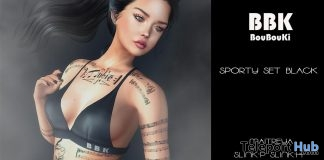 Sporty Set Black April 2019 Group Gift by BouBouKi- Teleport Hub - teleporthub.com