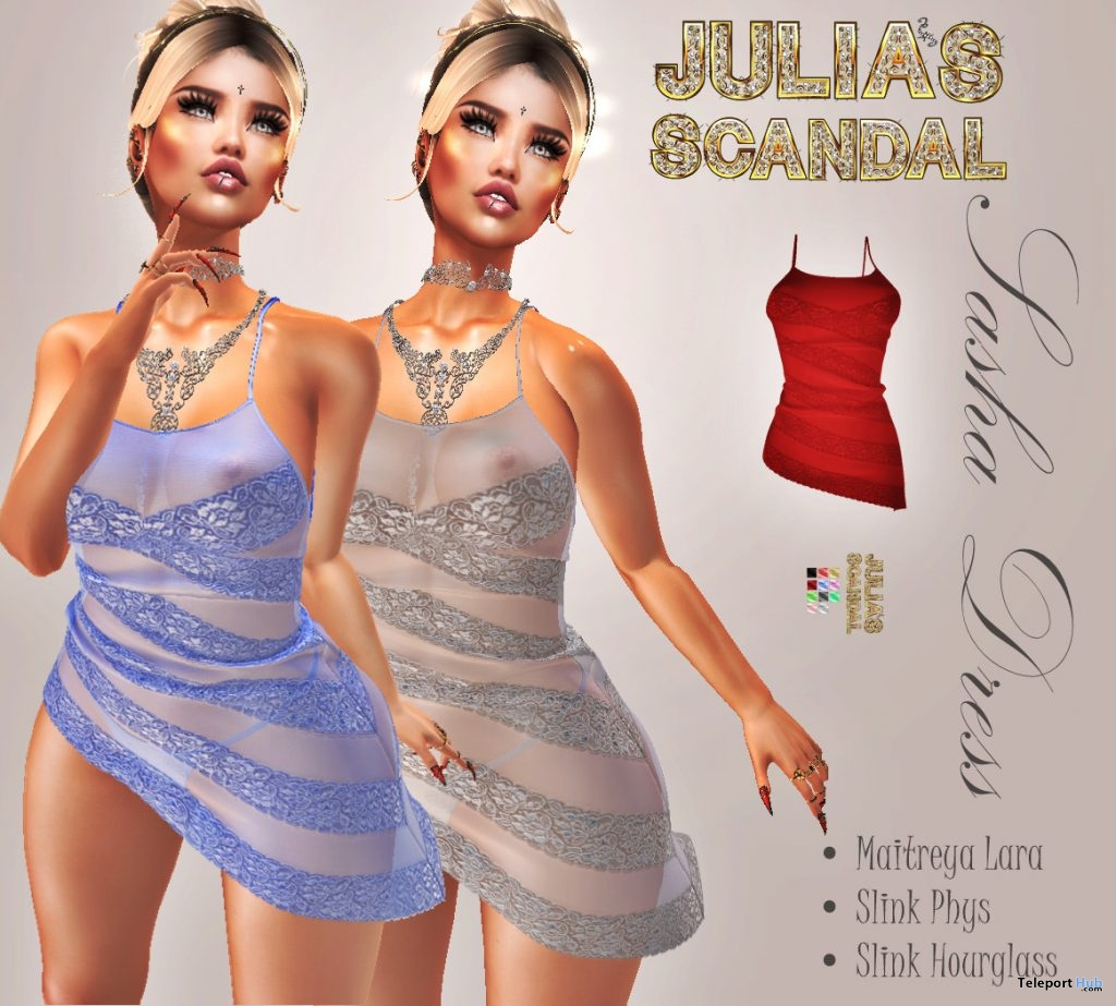 Sasha Dress Limited Time May 2019 Group Gift by Julia's Scandal - Teleport Hub - teleporthub.com