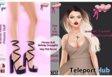 Artemis Tied Up Heels, Cocktail Earrings, & Necklace May 2019 Group Gift by Princess Stuff - Teleport Hub - teleporthub.com