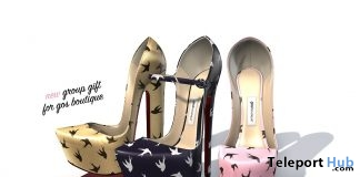 Lady G Platform Pumps Swallows May 2019 Group Gift by Gos Boutique- Teleport Hub - teleporthub.com