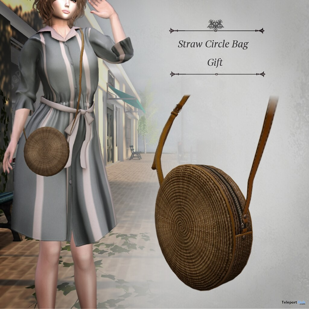 Straw Circle Bag May 2019 Group Gift by S@BBiA - Teleport Hub - teleporthub.com