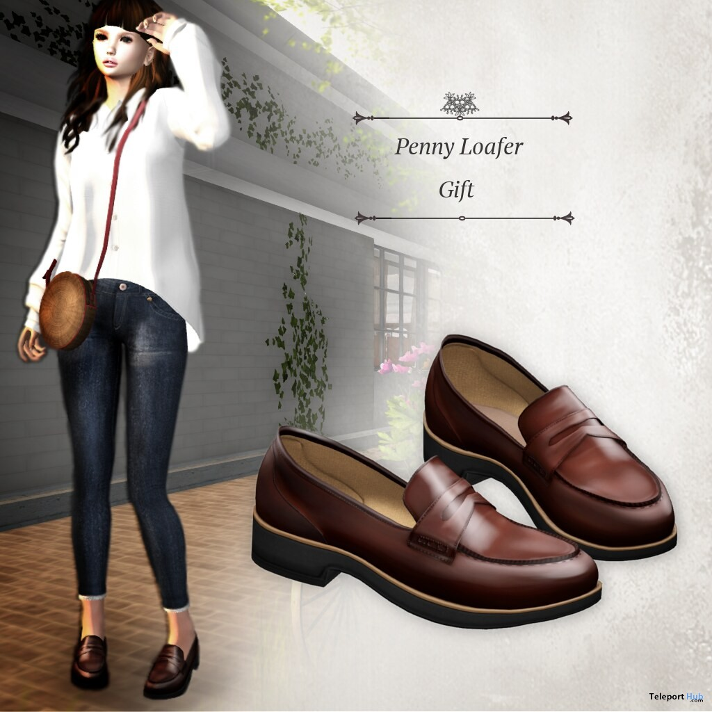 Penny Loafer Enamel Brown May 2019 Group Gift by S@BBiA- Teleport Hub - teleporthub.com