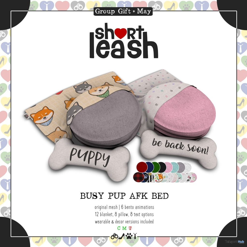 Busy Pup AFK Bed May 2019 Group Gift by Short Leash- Teleport Hub - teleporthub.com