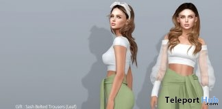 Sash Belted Trousers Leaf May 2019 Group Gift by COCO Designs- Teleport Hub - teleporthub.com