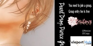 Pearl Drop Pierce Earrings May 2019 Group Gift by Brilove- Teleport Hub - teleporthub.com