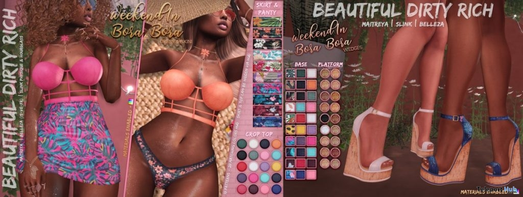 Weekend In Bora Bora Dress, Bikini, & Wedges Fatpack May 2019 Group Gift by Beautiful Dirty Rich - Teleport Hub - teleporthub.com