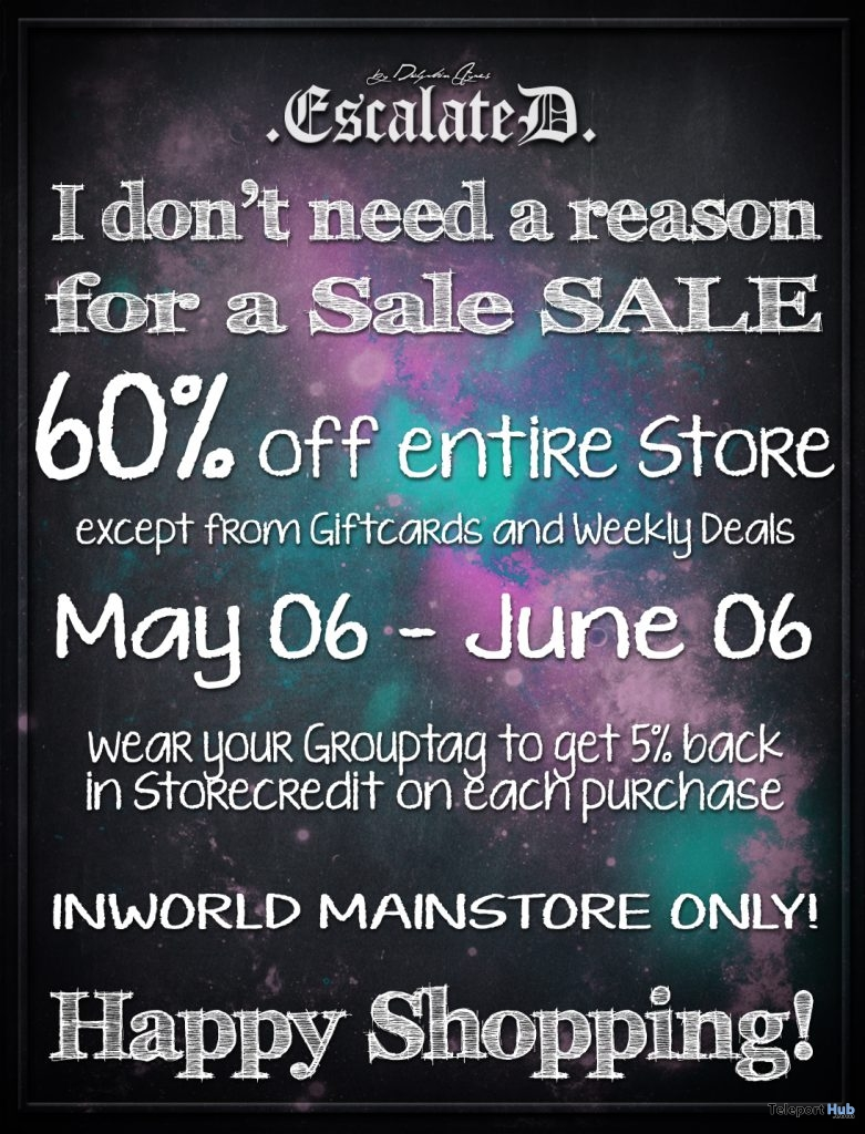 60% Off Entire Store Sale Promo by EscalateD- Teleport Hub - teleporthub.com