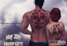 Rose & Skulls Unisex Body Tattoo May 2019 Group Gift by Bratz Custom Designz - Teleport Hub - teleporthub.com